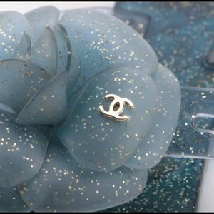Chanel Camellia Glitter Jelly Sandals in Blue.